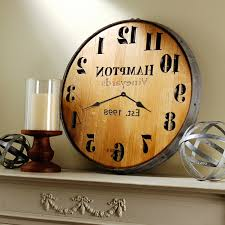 personalized wine barrel head wall clock wine enthusiast throughout well known wine barrel wall art