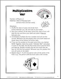 Each player counts out four cards face down, and the next card turned face up by each player determines the winner of all the cards. Free Multiplication War Card Game Classroom Freebies