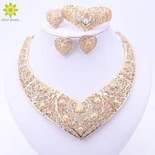 whole fashion african wedding bridal costume jewelry sets dubai indian gold color heart shaped necklace earrings ring sets for women vine jewelry
