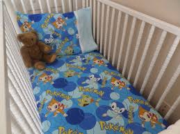 pokemon baby toddler flannel crib bed fitted sheet and