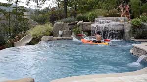 Fun Inground Swimming Pool Design with Slide \u0026 Kayaking - YouTube