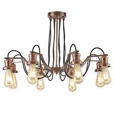 Details About Kronleuchter ø70cm 8x10w Kupfer Industrie Hängelampe Leuchte Lampe