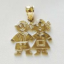 details about 14k yellow gold boy and girl pendant charm made in usa