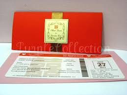 Boarding Pass Red Double Happiness Chinese Wedding Invitation Card