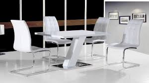 white high gloss dining table set and 4 chairs with chrome base