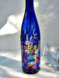 Bottle Light, Recycled Tall Blue Wine Bottle, Lamp, Night Light, Hand  Painted