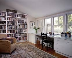 interior design for home office. Chic White Polished Office Table With Drawer Also Built In Shelves Home Designs Interior Design For