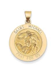 14k yellow gold saint michael medal