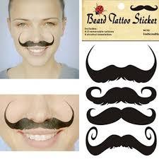 hot fashion design style black mustache pattern temporary tattoo party dress up makeup beard tattoo diy