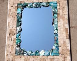 Stylish Ideas Blue Bathroom Mirror Etsy Uk Mosaic Bluetooth Led