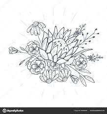 букет векторный руки обращается эскизы с растениями векторное