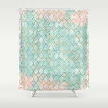 Luxury Aqua And Pink And Gold Oriental Pattern Shower Curtain By