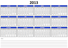 Calendar 2013 Template Numbers 2013 Yearly Calendar Template Free Iwork Templates