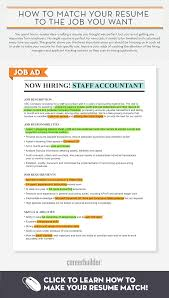 Infographic Matching Your Resume To The Job You Want Careerbuilder