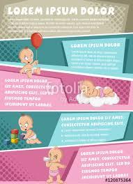 Vector Brochure Backgrounds With Cartoon Baby Wearing Diaper Cute