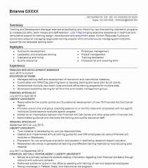 Training And Development Resume Download Sample Resume For Training