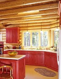 cabinets uk cabis: log home kitchen with red stained cabinets