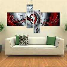 wall art sets of 4 hand painted abstract white red black oil painting on canvas 4
