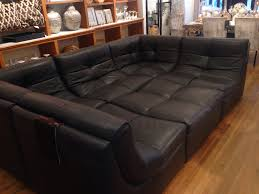 Synthetic Dark Brown Leather Sectional Sleeper Sofa Which Equipped