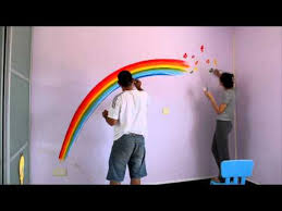 painting on the wallRainbow paint on wall for Chloes room  YouTube