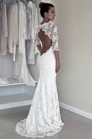 long sleeve lace open back mermaid wedding dresses 2017 long