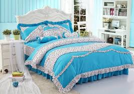 blue polka dot girls princess bowtie ruffled bedding sets