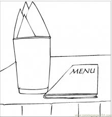 Small Picture Menu And Napkins Coloring Page Free Kitchenware Coloring Pages
