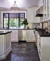 white kitchen dark tile floors.  White White Kitchen Cabinets With Dark Tile Floors Trendyexaminer Intended