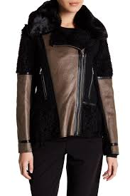 image of vince camuto faux leather faux suede faux fur asymmetrical zip jacket