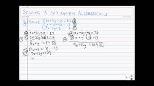 solving 3x3 systems algebraically