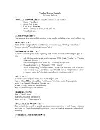 Skills Of A Teacher Resume Cosy Resume For Elementary Teacher Sample About 100 Sample 42
