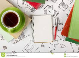 top office table cup. Office Table Desk With Supplies, Blank Note Pad, Cup, Pen On White Background Top Cup