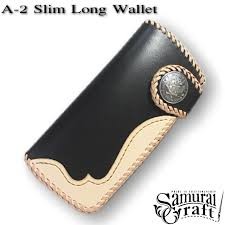 fully hand made and one of a kind leather wallet samurai craft long wallet a leather purse slim a 2 black saddle ナチュラルサドルオーバーレイ