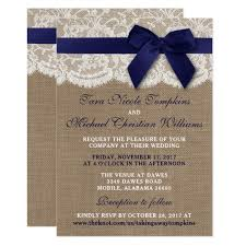 Burlap And Lace Wedding Invitations Navy Ribbon On Burlap Lace Wedding Invitation Zazzle Com