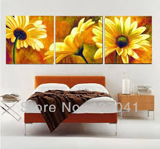 hand painted beautiful yellow blooming sunflower wall art 3 piece canvas painting modern picture for home on sunflower wall art canvas with hand painted beautiful yellow blooming sunflower wall art 3 piece