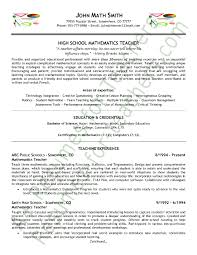Teaching Jobs Resume Sample 10 Math Teacher Page 1
