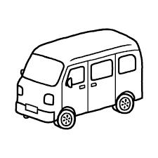 郵便車白黒乗り物5乗り物建物無料イラスト素材