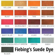Fiebings Suede Dye Color Chart Fiebing S Suede Rough Out Dye