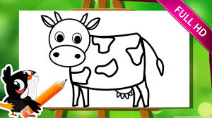 easy animals to draw step by step. Brilliant Step Learn How To Draw A Cow  Animals Easy Step By Drawing  Tutorial For Kids  YouTube Throughout T