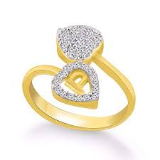 P Id Symbols Chart Kanak Jewels Diamond Heart Letter P Designed Ring For Girls Women Gold Plated Free Size For Any Occasion Kjrg108