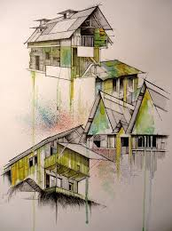 architectural hand drawings. Architectural Render \u2013 Hand Drawn House With Watercolor Drawings