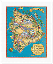 hawaiian island of hawaii big island map vintage colored cartographic map by hawaii tourist bureau