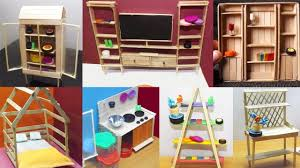 Image Miniature Furniture Youtube Easy Popsicle Stick Crafts 3 Dollhouse Furniture Diy Craft Ideas