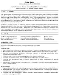 Business Analyst Resume Sample Resume Cover Letter Examples Business