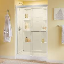 semi frameless sliding shower doors. delta simplicity 48 in. x 70 semi-frameless sliding shower door in chrome with clear glass-2421816 - the home depot semi frameless doors