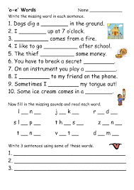 Choose the word that has a particular sound. O E Words Worksheet For 1st 3rd Grade Lesson Planet