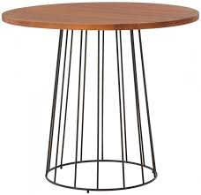 new foundry natural wood round dining table with black metal base 90cm