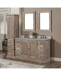 double sink vanity with linen cabinet. infurniture rustic style quartz white marble top 60-inch double sink bathroom vanity with matching linen cabinet