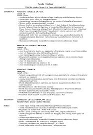 Assistant Teacher Resume Samples Velvet Jobs