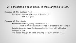 lotf chapter thesis in chapter one of lord of the flies  is the island a good place is there anything to fear